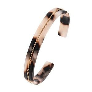 Nude Leopard Acetate Chain Cuff Bracelet Bangle